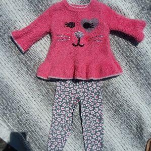 🎆5/$25🎆 Little Lass Fuzzy Kitty Sweater set